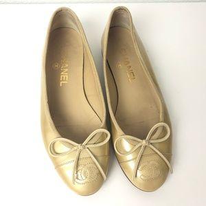 Chanel Patent Leather Ballerinas Flats Sz 35